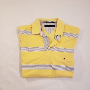 Tommy Hilfiger Yellow Blue & White Striped Polo M